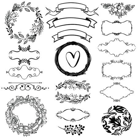 Vector decorative design elements set