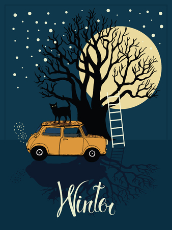 winter car: Winter tree, car, cat and a bright moon card Illustration