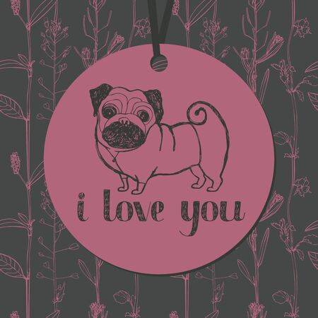 Cute pug and flower background Vector
