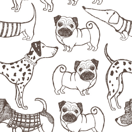 silhouette dog: Dogs pattern