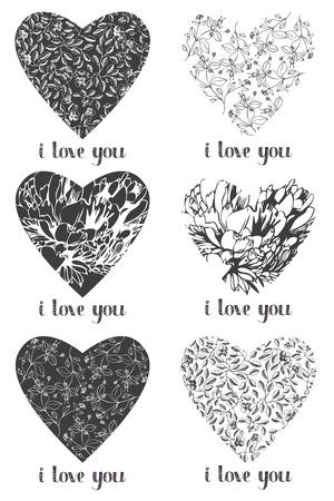 ornate heart: Flower ornate heart set Illustration