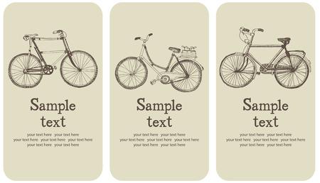 Vintage bicycle card set Vector