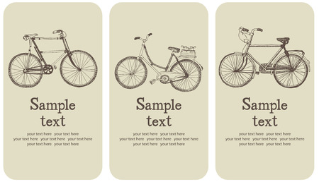 road bike: Vintage bicycle card set Illustration