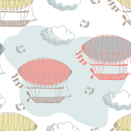Airship pattern. Airships, clouds and birds. Vector
