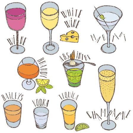 ajenjo: Las bebidas alcohólicas. Esbozo de dibujo a mano.