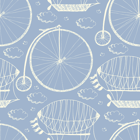 aeronautical: Big wheel bicycle and airships pattern. White sketch on a blue background.