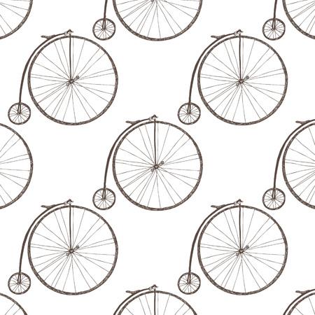 Big wheel bicycle. Dark sketch on a white background. Vector