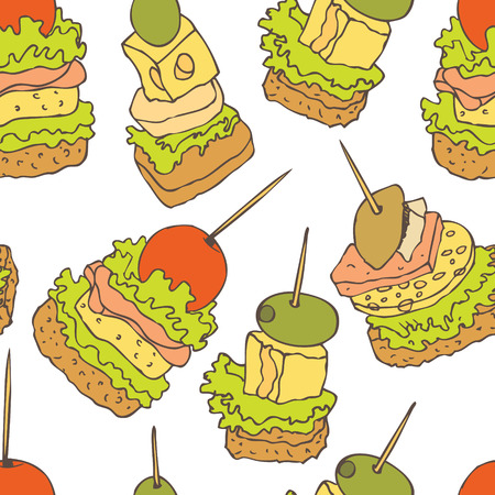 ham and cheese: Canape background. Appetizing canapes with cheese, ham and tomato. Illustration