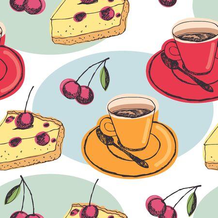 tarte aux cerises: Fond de tarte aux cerises. Tasses de th� et tarte aux cerises.
