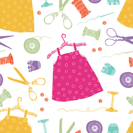 Children's dresses background. Tools for sewing and dresses for little girls. Vector