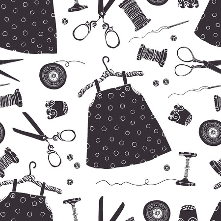 black and white sewing: Childrens dresses black background. Tools for sewing and dresses for little girls.