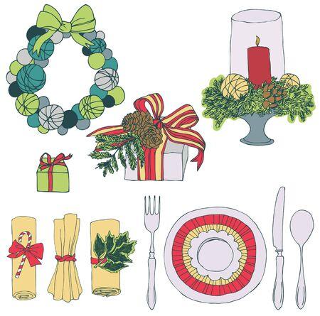 coronas de navidad: Conjunto de la Navidad. Regalos y guirnaldas de Navidad. Vajilla, velas y servilletas decoradas.