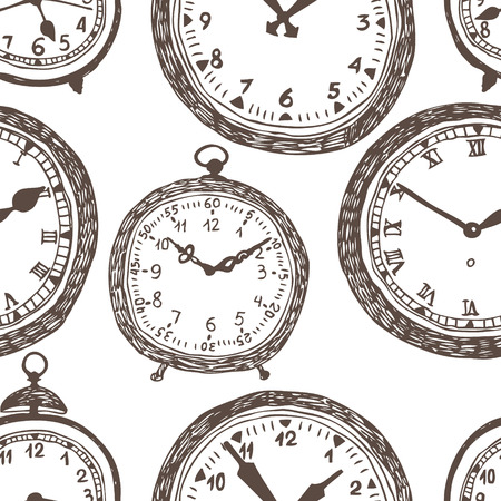Clock background. Dark drawing on a white background. Vector