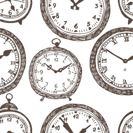 reloj antiguo: Fondo del reloj. Dibujo oscuro sobre un fondo blanco. Vectores
