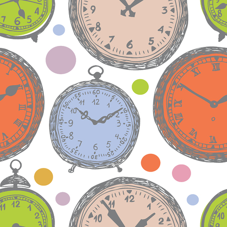 antique clock: Clock colorful background. Hand drawing sketch. Illustration