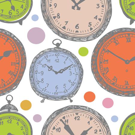 reloj antiguo: Reloj de colores de fondo. Esbozo de dibujo a mano.