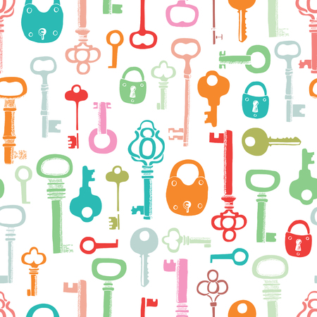secret love: Color keys pattern. Hand drawing sketch.