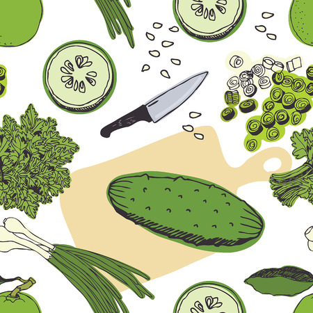 Cucumber salad background. Fresh cucumbers, parsley and kitchen utensils.  Illustration