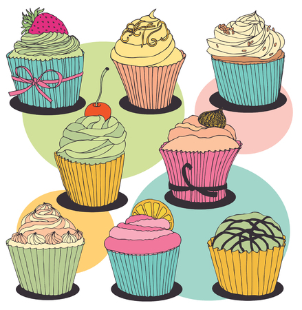 Cupcake color set. Cupcakes on a colorful background. Vector