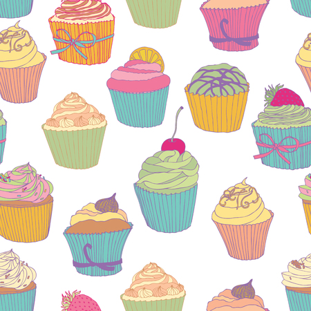 creamer: Cupcake pattern. Colored cupcakes on the white background. Illustration