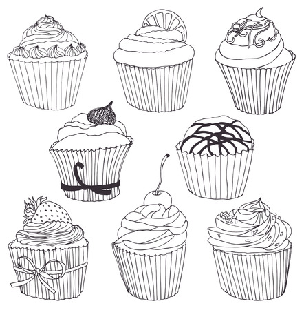 cupcakes isolated: Cupcake set. Black and white contour drawing.