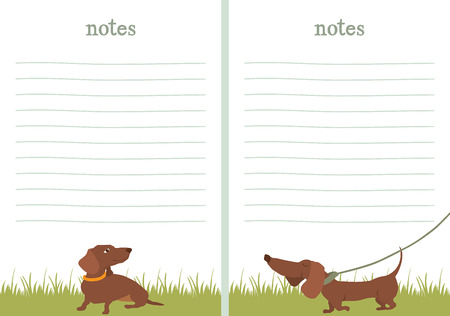 Dachshunds on a grass. Paper for notes. Vector