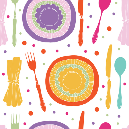 Dinner pattern. Multi-colored plates, cutlery and napkins. Illustration