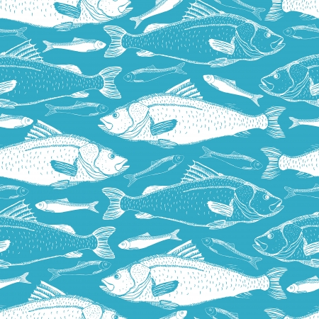 Fish seamless background  Hand drawn fish on a blue background  Vector
