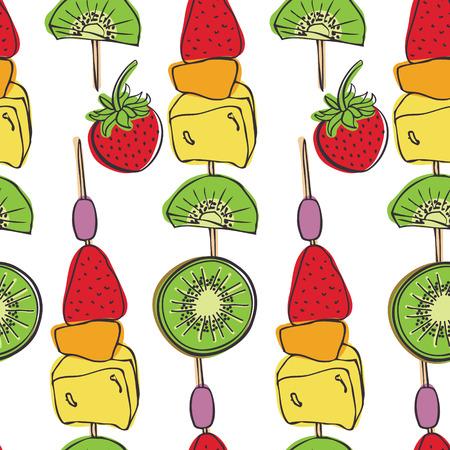 Fruit skewers  Pieces of fresh fruit
