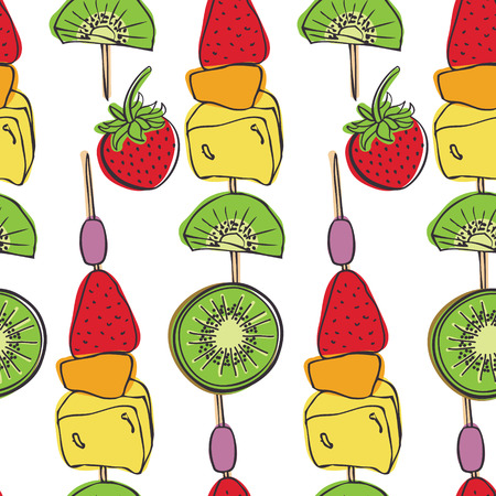 brochetas de frutas: Frutas pinchos Piezas de fruta fresca