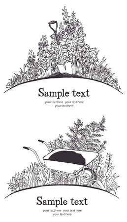Garden wheelbarrow card  Garden tools, shovel and wheelbarrow, plants and herbs  Vector