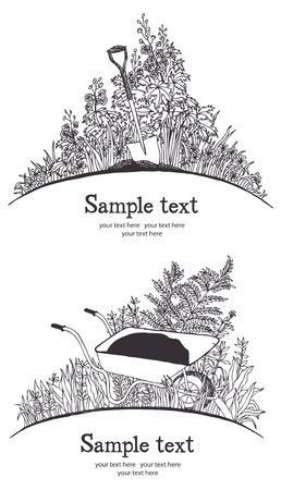 wheelbarrow: Garden wheelbarrow card  Garden tools, shovel and wheelbarrow, plants and herbs