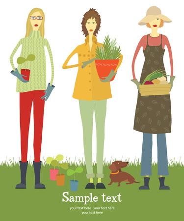 pruner: Gardener card  Three female gardener with a dog  Plants and vegetables  Illustration