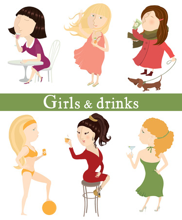 Girls and drinks  Six girls with different drinks  Vector