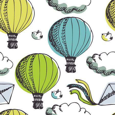 hot line: Hot Air Balloons, clouds and birds   Illustration