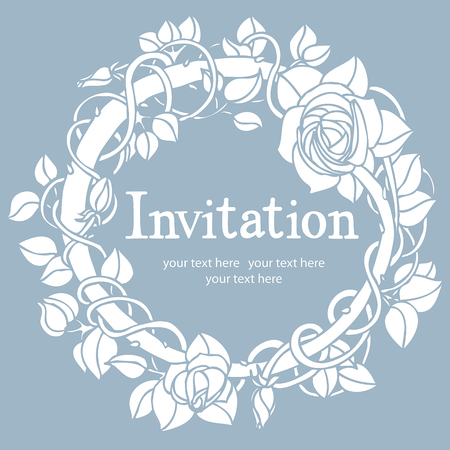happy couple at home: Invitation blue card  Round vignette of roses on a blue background  Illustration