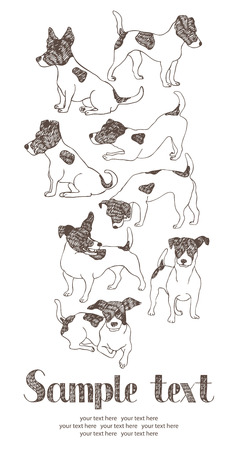 discovering: Jack Russell Terrier card. Hand drawn.