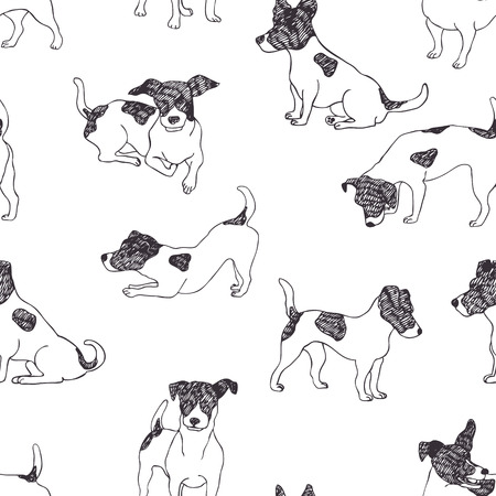 discovering: Jack Russell Terrier pattern. Hand drawn.