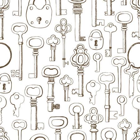 secret love: Keys pattern. Dark hand drawn.