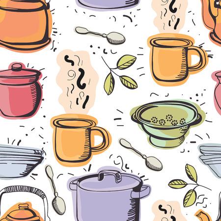 Kitchen seamless pattern. Colorful kitchen utensils.