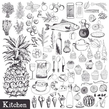 Kitchen set. Utensils and food hand drawn.