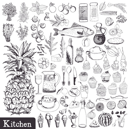 the grater: Kitchen set. Utensils and food hand drawn.