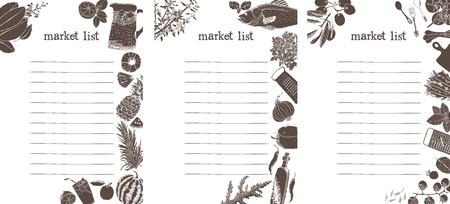 liste d'achats sur le marché. Silhouettes de nourriture.