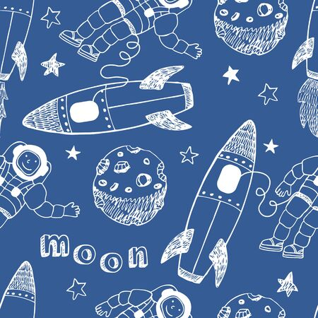 outer space: Rockets seamless pattern. White hand drawn on a blue background.