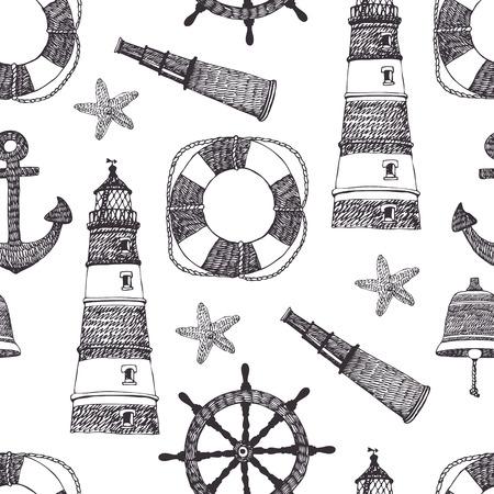 life preserver: Sea black pattern. Hand drawn.