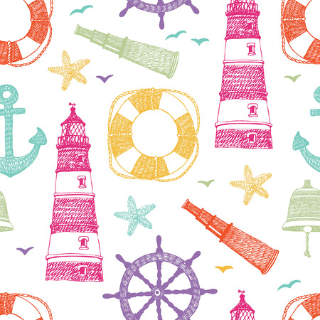 life preserver: Sea color pattern. Starfish, anchor, lighthouse. Hand drawn.