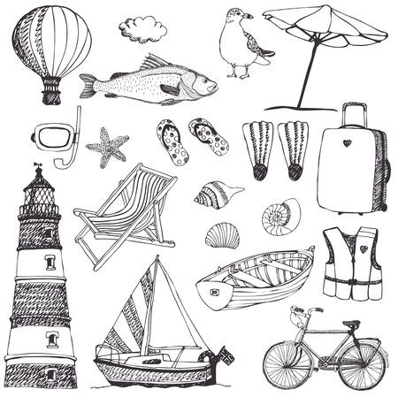 sunglasses beach: Sea set. Hand drawn. Beach accessories, boat, lighthouse, bike and hot air balloon.  Illustration