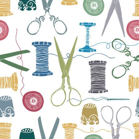 maquina de coser: Costura color. Suministros. Tijeras, hilos, agujas y dedales. Dibujado a mano. Vectores