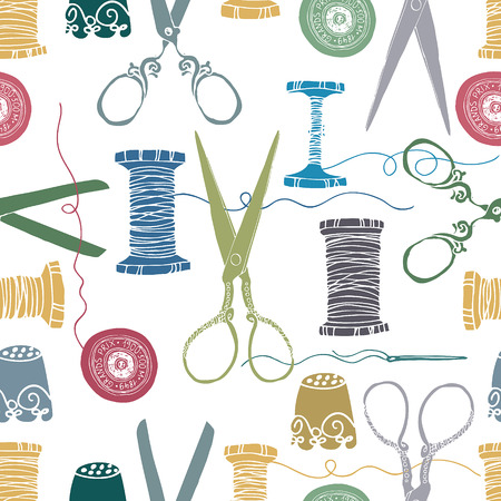 Sewing color. Sewing supplies. Scissors, thread, needles and thimbles. Hand drawn.