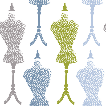 black and white sewing: Sewing mannequin pattern. Hand drawn. Illustration